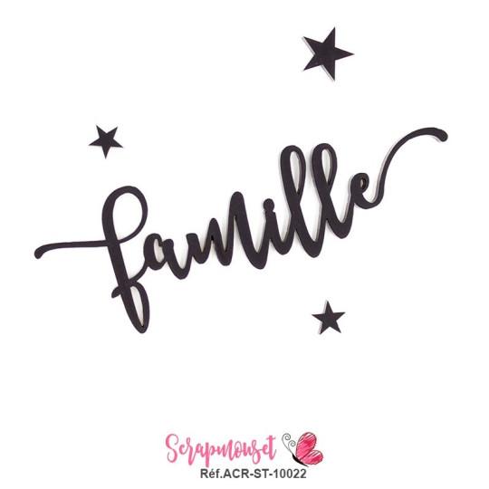 """Mot """"famille"""" en Acrylique Noir 11 x 3,7 cm - Scrapmouset"""