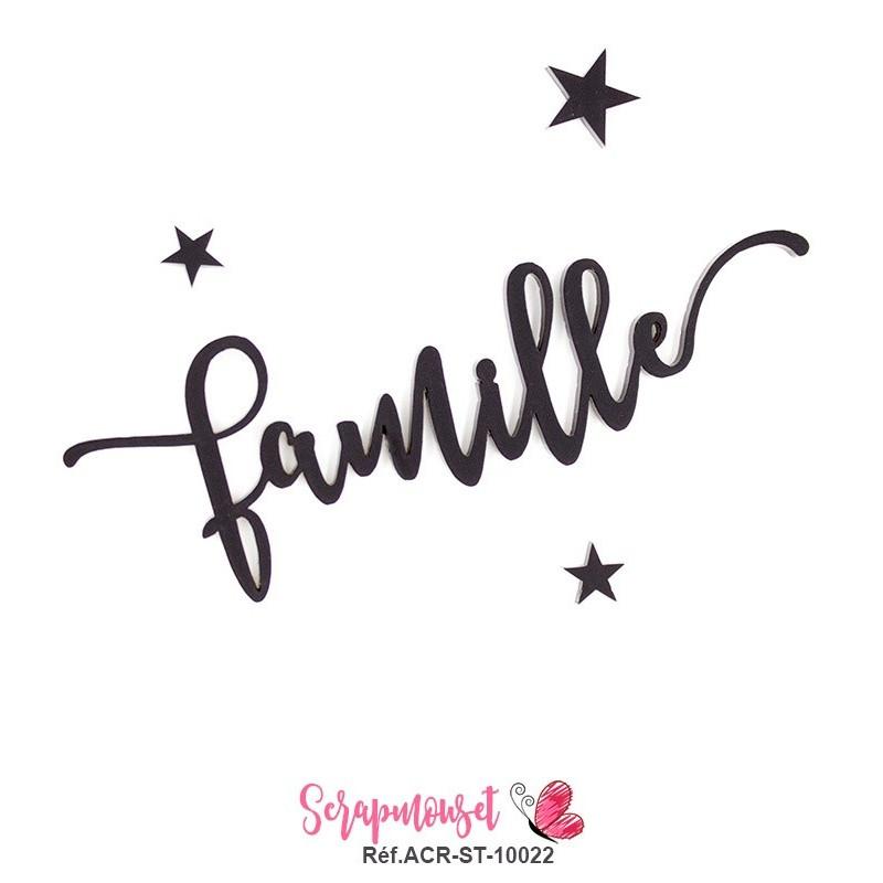 """Mot """"famille"""" en Acrylique - couleur noire"""
