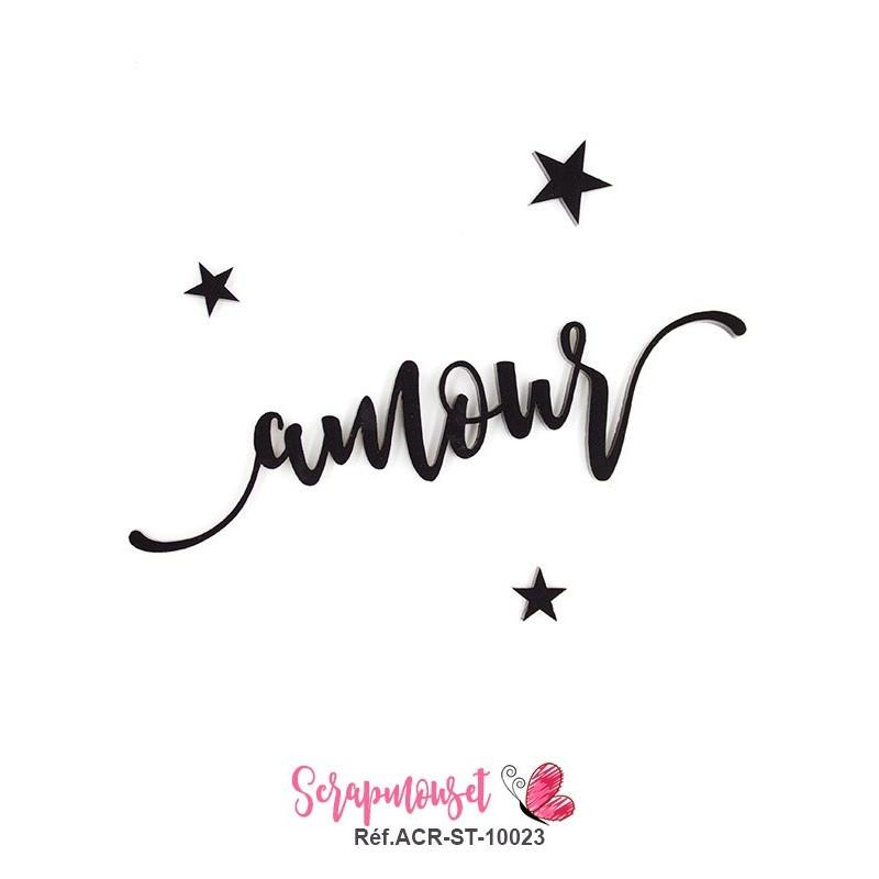 """Mot """"amour"""" en Acrylique - couleur noire"""