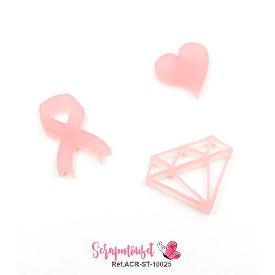 """Embellissements / Motifs """"ruban, coeur et diamant"""" en Acrylique Rose - Scrapmouset"""