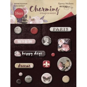 "Lot de 16 stickers epoxy ""Charming"" de Scrapmir"