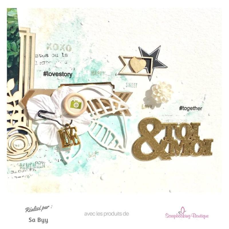 Mots en Carton bois - Toi et Moi 5,8 x 3,1 cm
