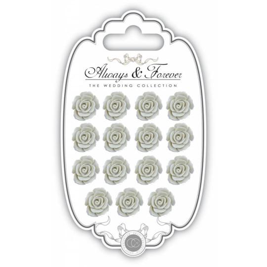 """Lot de 15 roses en résine """"Ivory"""""""