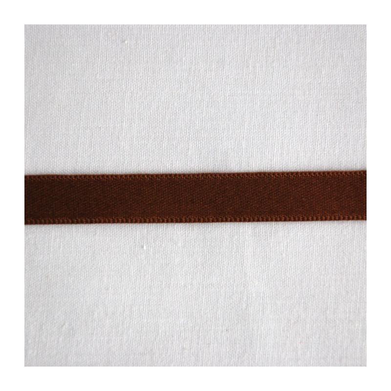 Ruban satin de coton chocolat 1 cm