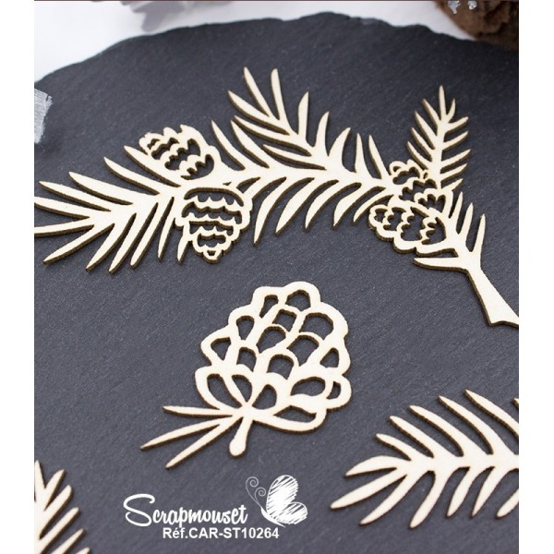 Embellissements branches de sapin et pommes de pin - SCRAPMOUSET