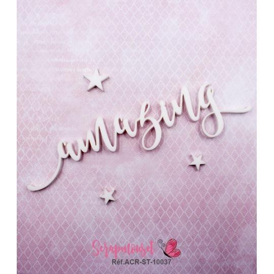 """Mot """"amazing"""" en Acrylique Blanc 12,9 x 3,1 cm - Scrapmouset"""