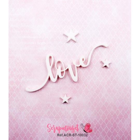 """Mot """"love"""" en Acrylique Blanc 8 x 3 cm - Scrapmouset"""