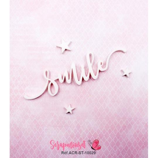 """Mot """"smile"""" en Acrylique Blanc 9.7 x 3,3 cm - Scrapmouset"""