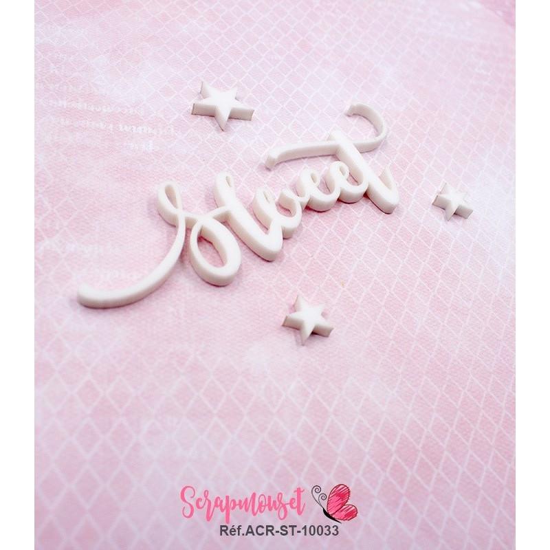 """Mot """"sweet"""" en Acrylique Blanc 8,6 x 3,6 cm - Scrapmouset"""
