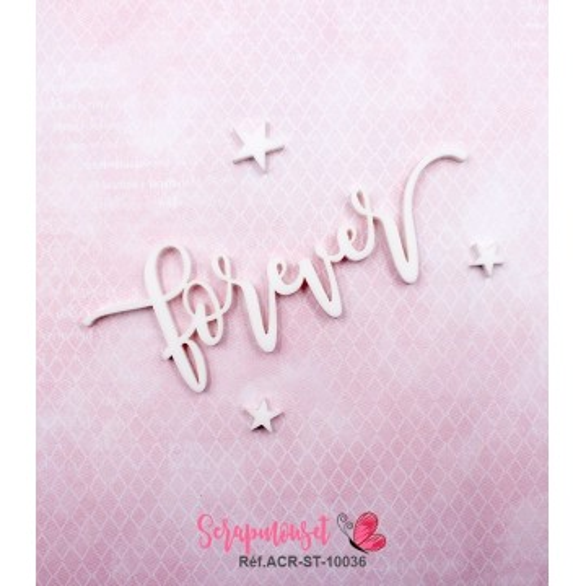 """Mot """"forever"""" en Acrylique Blanc 10,8 x 3,8 cm - Scrapmouset"""