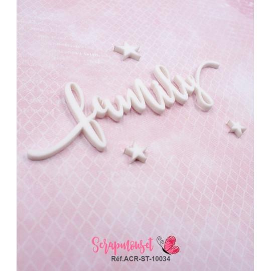 """Mot """"family"""" en Acrylique Blanc 11,7 x 3,5 cm - Scrapmouset"""