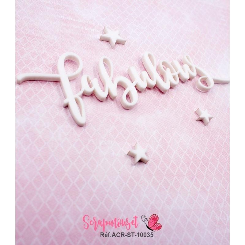 """Mot """"fabulous"""" en Acrylique Blanc 11,9 x 3,7 cm - Scrapmouset"""