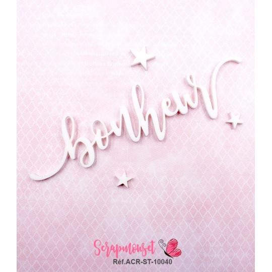 """Mot """"bonheur"""" en Acrylique Blanc 12,7 x 3,4 cm - Scrapmouset"""