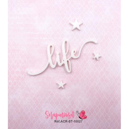 """Mot """"life"""" en Acrylique Blanc 7,5 x 3,3 cm - Scrapmouset"""