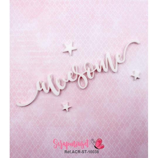 """Mot """"awesome"""" en Acrylique Blanc 13 x 2,6 cm - Scrapmouset"""