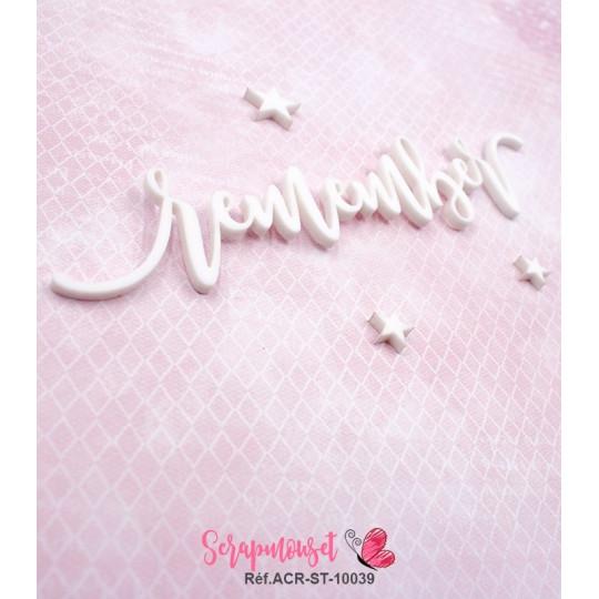 """Mot """"remember"""" en Acrylique Blanc 14,7 x 3 cm - Scrapmouset"""