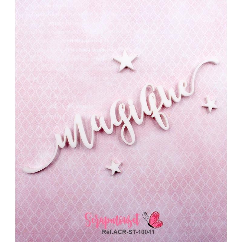 """Mot """"magique"""" en Acrylique Blanc 12,5 x 2,9 cm - Scrapmouset"""