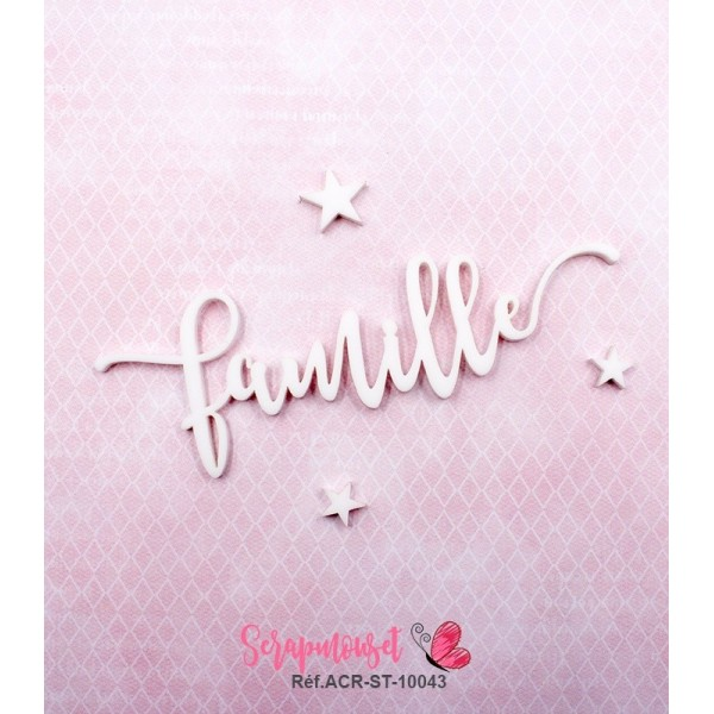 """Mot """"famille"""" en Acrylique Blanc 11 x 3,7 cm - Scrapmouset"""