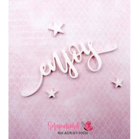 "Mot ""enjoy"" en Acrylique Blanc 8,9 x 3,1 cm - Scrapmouset"