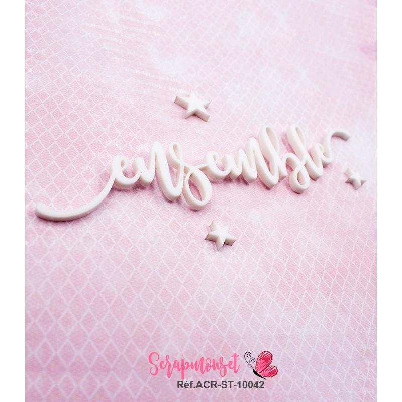 """Mot """"ensemble"""" en Acrylique Blanc 13,7 x 3 cm - Scrapmouset"""