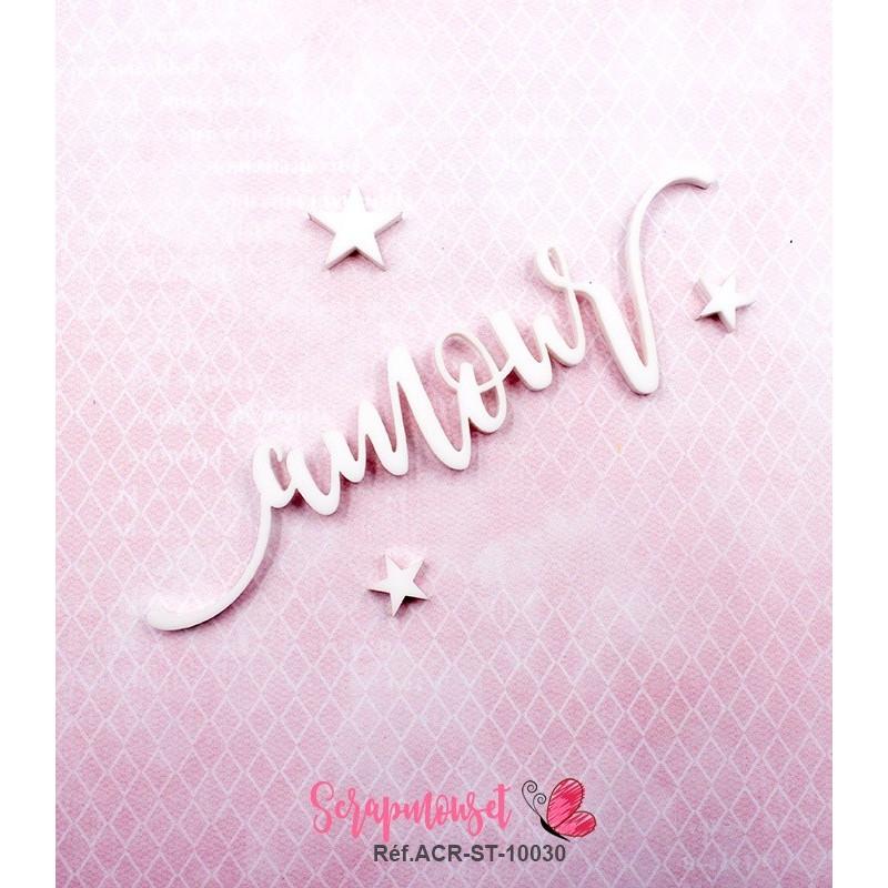 """Mot """"amour"""" en Acrylique Blanc 10,7 x 2,7 cm - Scrapmouset"""
