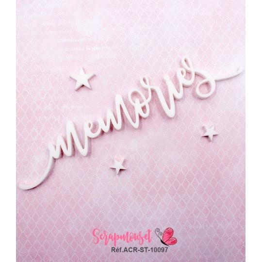 """Mot """"memories"""" en Acrylique Blanc 13,8 x 2,8 cm - Scrapmouset"""