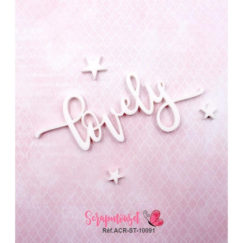 """Mot """"lovely"""" en Acrylique Blanc 9,3 x 4,4 cm - Scrapmouset"""
