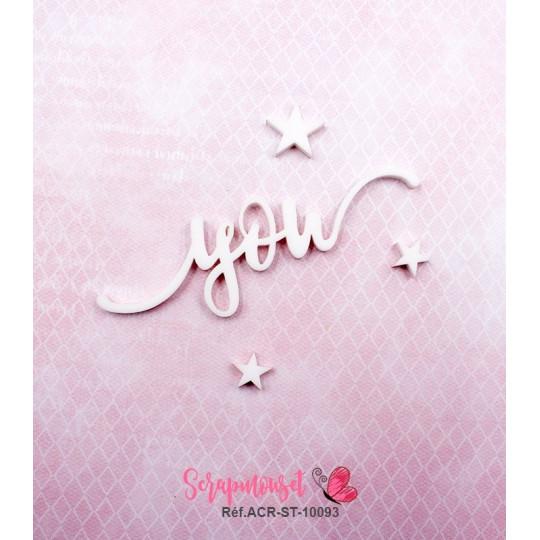 """Mot """"you"""" en Acrylique Blanc 7,8 x 2,9 cm - Scrapmouset"""