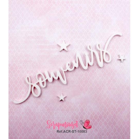 """Mot """"souvenirs"""" en Acrylique Blanc 13,8 x 2,8 cm - Scrapmouset"""