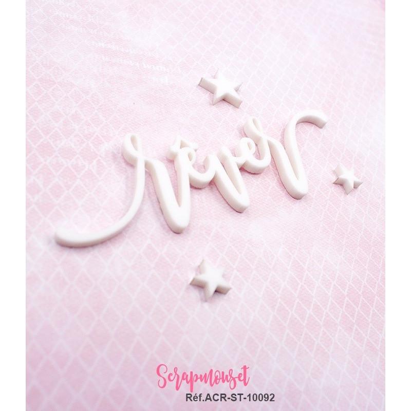 """Mot """"rêver"""" en Acrylique Blanc 9,6 x 2,8 cm - Scrapmouset"""