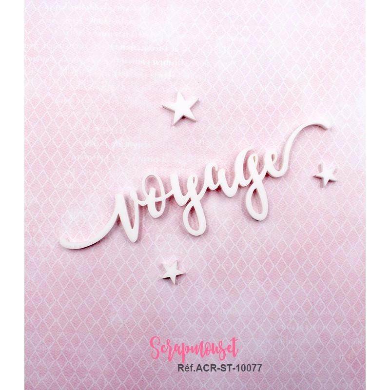 """Mot """"voyage"""" en Acrylique Blanc 11 x 3,1 cm - Scrapmouset"""