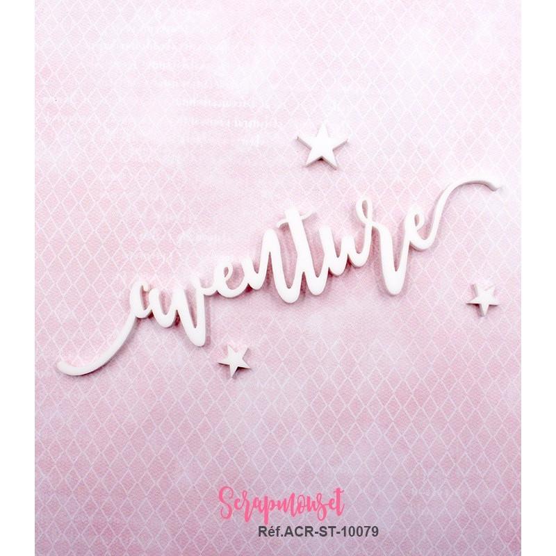 """Mot """"aventure"""" en Acrylique Blanc 13 x 3 cm - Scrapmouset"""