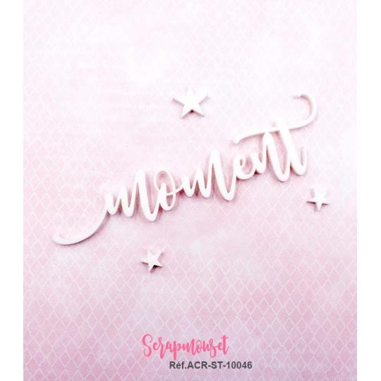 """Mot """"moment"""" en Acrylique Blanc 11,4 x 3,4 cm - Scrapmouset"""