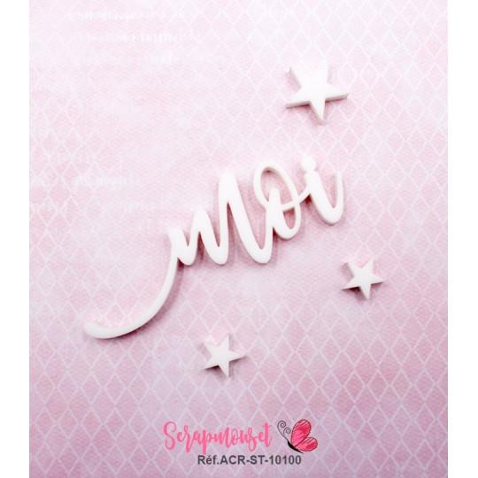 """Mot """"moi"""" en Acrylique Blanc 6,2 x 2,3 cm - Scrapmouset"""