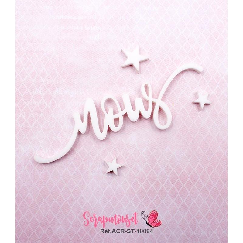 """Mot """"nous"""" en Acrylique Blanc 9 x 2,7 cm - Scrapmouset"""