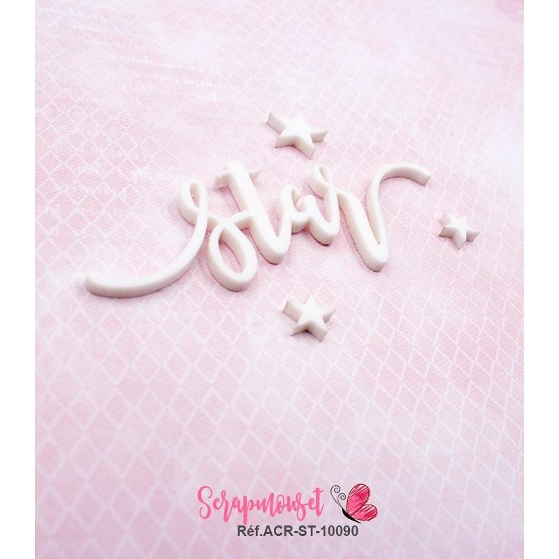 """Mot """"star"""" en Acrylique Blanc 8,6 x 3 cm - Scrapmouset"""