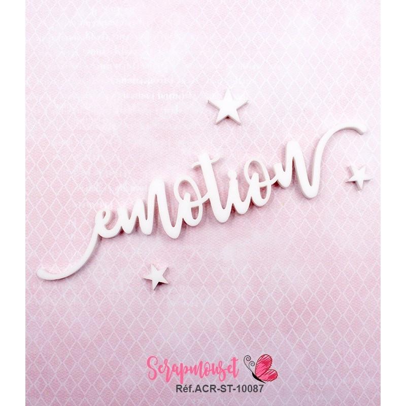"""Mot """"emotion"""" en Acrylique Blanc 12,3 x 2,8 cm - Scrapmouset"""
