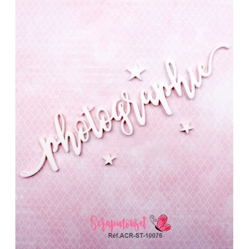 """Mot """"photographie"""" en Acrylique Blanc 17,6 x 3,7 cm - Scrapmouset"""