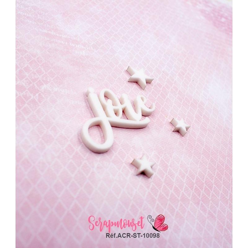 """Mot """"joie"""" en Acrylique Blanc 4,1 x 3,1 cm - Scrapmouset"""