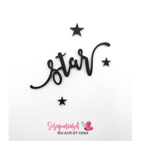 """Mot """"star"""" en Acrylique Noir 8,6 x 3 cm - Scrapmouset"""