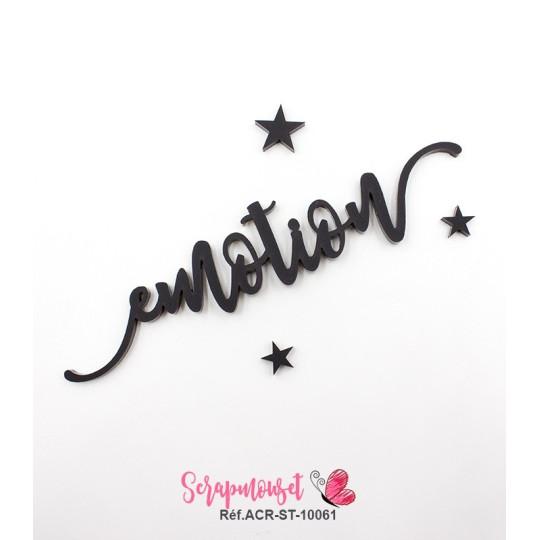 """Mot """"emotion"""" en Acrylique Noir 12,3 x 2,8 cm - Scrapmouset"""
