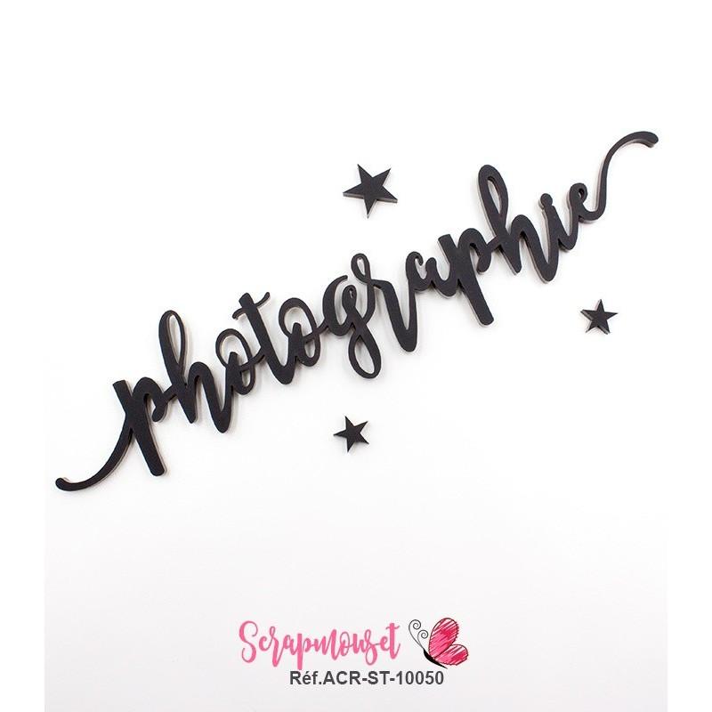 """Mot """"photographie"""" en Acrylique Noir 17,6 x 3,7 cm - Scrapmouset"""