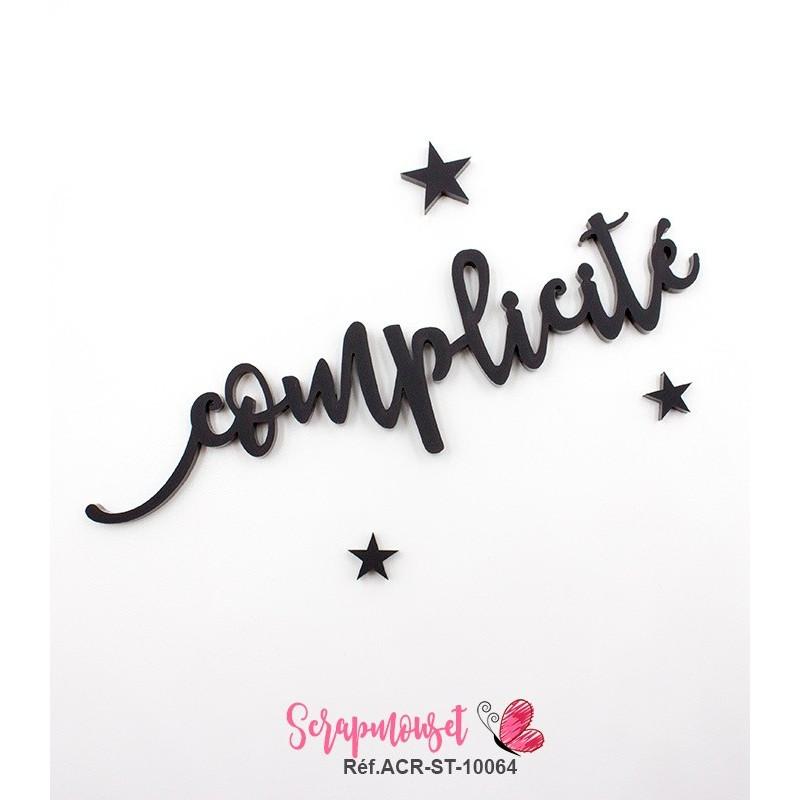 """Mot """"complicité"""" en Acrylique Noir 12,3 x 3,4 cm - Scrapmouset"""