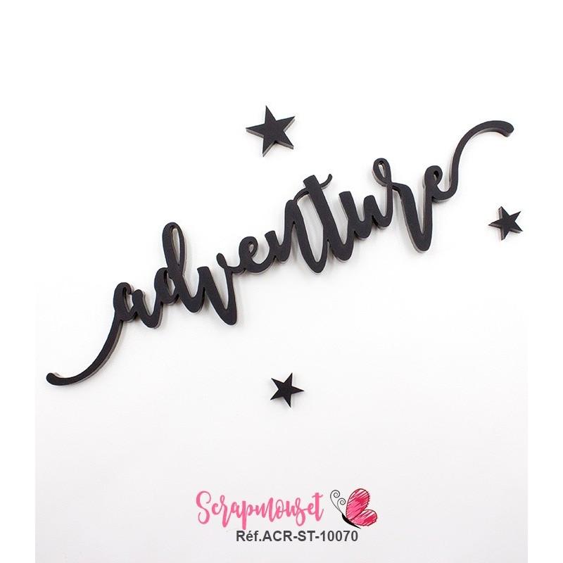 """Mot """"adventure"""" en Acrylique Noir 14,2 x 3,3 cm - Scrapmouset"""