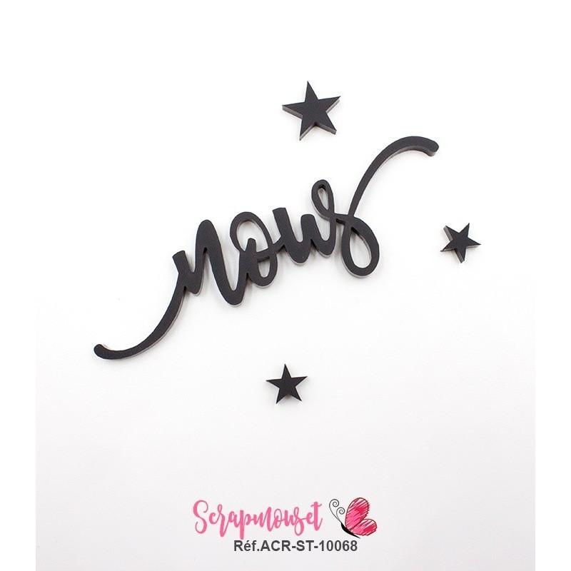 """Mot """"nous"""" en Acrylique Noir 9 x 2,7 cm - Scrapmouset"""