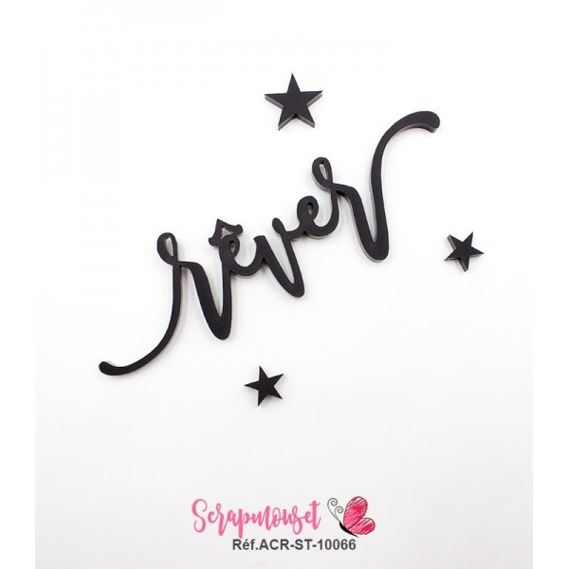 """Mot """"rêver"""" en Acrylique Noir 9,6 x 2,8 cm - Scrapmouset"""