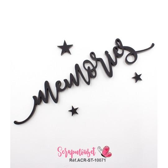 """Mot """"memories"""" en Acrylique Noir 13,8 x 2,8 cm - Scrapmouset"""