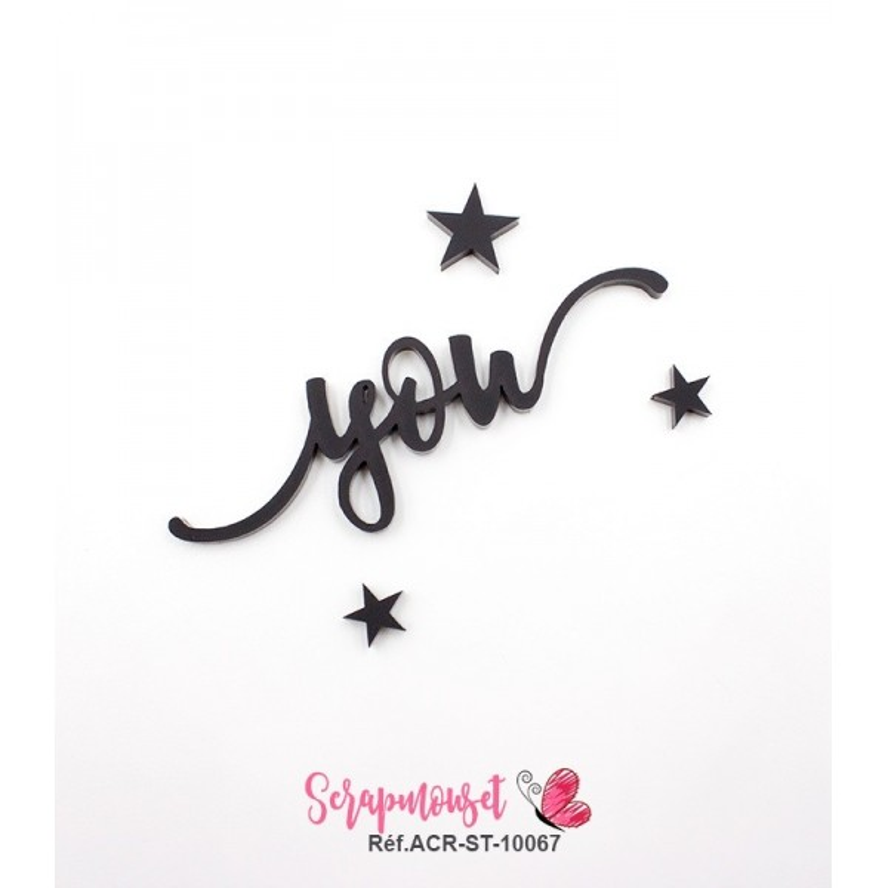 """Mot """"you"""" en Acrylique Noir 7,8 x 2,9 cm - Scrapmouset"""