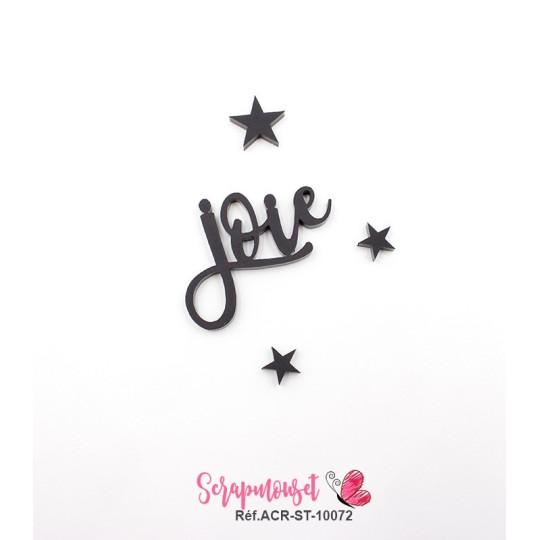 """Mot """"joie"""" en Acrylique Noir 4,1 x 3,1 cm - Scrapmouset"""