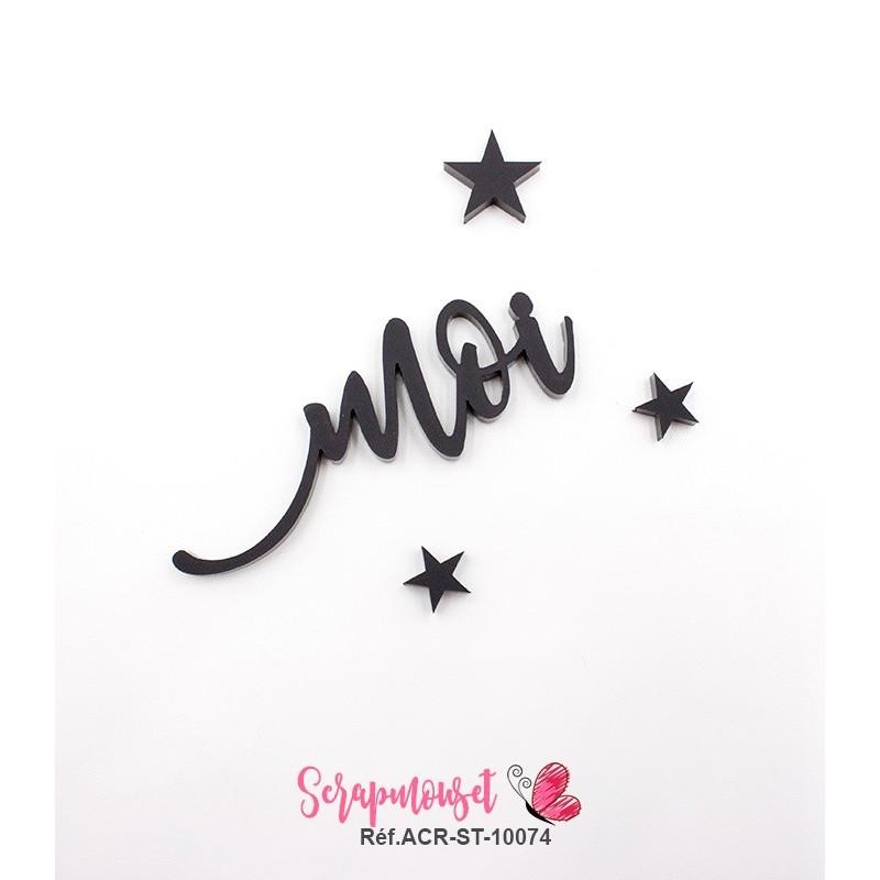 """Mot """"moi"""" en Acrylique Noir 6,2 x 2,3 cm - Scrapmouset"""